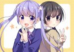 2girls :d bangs black_hair blank_eyes blazer blush brown_cardigan cardigan closed_mouth collared_shirt commentary_request crossover eyebrows_visible_through_hair flower formal hair_flower hair_ornament happy ichinose_haruko jacket light_purple_hair long_hair looking_at_viewer multiple_girls new_game! open_mouth own_hands_together pink_neckwear pink_ribbon purple_hair purple_jacket ribbon school_uniform shirt smile star_(symbol) suit suzukaze_aoba swap_swap tottoto_tomekichi twintails upper_body v violet_eyes white_shirt