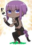 1girl :3 bangs bare_shoulders black_bodysuit blush bodysuit chibi closed_mouth dark_skin double_w eyebrows_visible_through_hair fate/prototype fate/prototype:_fragments_of_blue_and_silver fate_(series) flower full_body hair_between_eyes hassan_of_serenity_(fate) highres i.u.y looking_at_viewer no_shoes purple_flower purple_hair solo sparkle_background standing standing_on_one_leg stirrup_legwear toeless_legwear violet_eyes w