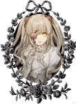 1girl bangs blonde_hair closed_mouth doll_joints eyebrows_visible_through_hair flower flower_eyepatch hair_flower hair_ornament hand_up joints kirakishou kuroge_(kewagyuu) lolita_fashion long_sleeves looking_at_viewer pink_flower pink_rose plant ribbon rose rozen_maiden slit_pupils solo thorns two_side_up upper_body vines yellow_eyes