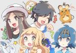 1boy 3girls ? bangs blonde_hair blush brown_hair bucket_hat bulbasaur closed_eyes closed_mouth commentary_request cosmog dedenne elio_(pokemon) gen_1_pokemon gen_2_pokemon gen_6_pokemon gen_7_pokemon green_eyes grey_background grey_eyes hairband hat heart lana_(pokemon) leaf_(pokemon) legendary_pokemon lillie_(pokemon) long_hair lugia multiple_girls nosutaal open_mouth pokemon pokemon_(game) pokemon_frlg pokemon_sm rowlet shirt short_hair smile star_(symbol) t-shirt tongue white_headwear