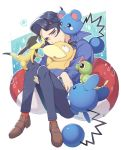 1boy augustine_sycamore azurill black_hair brown_footwear caterpie commentary_request gen_1_pokemon gen_2_pokemon gen_3_pokemon gen_6_pokemon head_down helioptile holding holding_pokemon knees_together kusuribe long_sleeves marill pants pokemon pokemon_(creature) pokemon_(game) pokemon_xy psyduck sad shoes speech_bubble