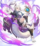 1girl alternate_costume animal_ears fire_emblem fire_emblem_awakening fire_emblem_heroes grima_(fire_emblem) halloween_costume highres long_hair official_art red_eyes robin_(fire_emblem) robin_(fire_emblem)_(female) shorts solo tail teffish tied_hair transparent_background twintails white_hair wolf_ears wolf_tail