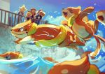 2boys 2girls :d ash_ketchum baseball_cap black_hair blonde_hair blue_jacket bonnie_(pokemon) brown_hair buizel clemont_(pokemon) clouds commentary day dedenne elizabeth_(tomas21) fence floatzel gen_1_pokemon gen_4_pokemon gen_6_pokemon glasses hat highres jacket jumpsuit multiple_boys multiple_girls on_head open_mouth outdoors pikachu pokemon pokemon_(anime) pokemon_(creature) pokemon_on_head pokemon_xy_(anime) serena_(pokemon) short_sleeves sky smile tongue watching water