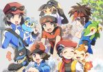 5boys :d bag baseball_cap beanie black-framed_eyewear black_hair blue_jacket blush brendan_(pokemon) brown_eyes brown_hair calem_(pokemon) chimchar closed_eyes closed_mouth commentary_request eyewear_on_headwear froakie gen_3_pokemon gen_4_pokemon gen_5_pokemon gen_6_pokemon hand_up hat heart hilbert_(pokemon) jacket lucario lucas_(pokemon) mawile multiple_boys nate_(pokemon) nosutaal on_head on_shoulder open_mouth pokemon pokemon_(creature) pokemon_(game) pokemon_bw pokemon_bw2 pokemon_dppt pokemon_on_head pokemon_on_shoulder pokemon_oras pokemon_xy red_headwear short_sleeves shoulder_bag smile snivy sunglasses tongue visor_cap white_headwear zipper_pull_tab