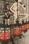 1boy 1other absurdres bandaged_leg bandages barefoot black_hair black_kimono chain dororo_(tezuka) dual_wielding hair_between_eyes hair_over_one_eye highres holding holding_sword holding_weapon hyakkimaru_(dororo) isuzatakukai japanese_clothes kimono lantern long_hair ponytail red_eyes skeleton standing sword torn_clothes torn_kimono weapon wide_shot
