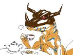 1boy commentary cookie cup digimon dinosaur dish doodle earl_grey_tea food greymon holding holding_cup horns peptide pun sharp_teeth table teacup teapot teeth white_background