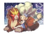 1girl blonde_hair blush commentary_request dress entei gen_2_pokemon holding kusuribe legendary_pokemon molly_hale number open_mouth pokemon pokemon_(anime) pokemon_(classic_anime) pokemon_(creature) pokemon_m03 red_footwear shoes short_sleeves sitting thigh-highs tongue white_legwear