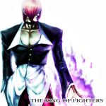 1boy choker closed_mouth fire hair_over_eyes jacket male_focus muscle pants purple_fire pyrokinesis red_pants redhead sawao simple_background solo the_king_of_fighters white_background yagami_iori