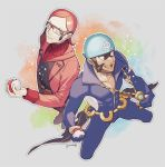 2boys archie_(pokemon) brown_hair closed_mouth commentary_request facial_hair glasses holding holding_poke_ball jewelry kusuribe long_sleeves male_focus maxie_(pokemon) multiple_boys necklace open_mouth orange_hair poke_ball poke_ball_(basic) pokemon pokemon_(game) pokemon_oras sideways_glance signature smile teeth tongue