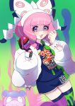 1girl :3 asymmetrical_legwear bracelet collared_shirt commentary dynamax_band fur_jacket galarian_slowbro gloves hands_up highres holding holding_poke_ball jacket jewelry klara_(pokemon) mole mole_under_mouth number orange_(orangelv20) pink_hair pink_lips poke_ball poke_ball_(basic) pokemon pokemon_(creature) pokemon_(game) pokemon_swsh purple_eyeshadow ring shirt shorts single_glove smile thigh-highs white_jacket