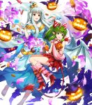 2girls amagai_tarou bangs bare_shoulders barefoot breasts candy chocolate chocolate_bar demon_tail dress eyebrows_visible_through_hair fire_emblem fire_emblem:_mystery_of_the_emblem fire_emblem:_the_blazing_blade fire_emblem_heroes floating floating_object food full_body green_eyes green_hair hair_ornament halloween_costume highres holding horns long_dress long_hair looking_away medium_breasts multiple_girls ninian_(fire_emblem) official_art open_mouth open_toe_shoes pointy_ears ponytail red_dress red_eyes shiny shiny_hair short_dress sidelocks silver_hair sleeveless smile snowflake_print tail tied_hair tiki_(fire_emblem) toes transparent_background wings