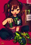 1girl absurdres bangs black_pants black_shirt blush_stickers can crop_top energy_drink fang highres holding holding_can huge_filesize id_card long_hair midriff moai_(more_e_4km) mole mole_under_mouth monster_energy navel open_mouth original pants red_background red_eyes shirt shoes short_sleeves signature simple_background sitting sneakers solo two_side_up