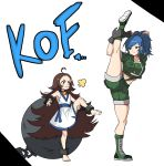 2girls absurdres ball_and_chain barefoot bell blue_eyes blue_hair brown_hair chang_koehan flexible forehead full_body genderswap green_jacket green_shorts height_difference highres iron_ball jacket jingle_bell legs leona_heidern loli midriff multiple_girls ponytail pretty_chang romaji_text shorts smile split standing standing_on_one_leg standing_split the_king_of_fighters the_king_of_fighters_all-stars yanggaengwang