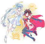 2girls angel angel_and_devil angel_wings black_hair boots cape contrast cosplay demon demon_girl demon_horns demon_tail demon_wings gradient_hair grey_eyes halo highres horns iesupa midriff multicolored_hair multiple_girls navel ponytail red_cape redhead ruby_rose rwby scar scar_across_eye see-through short_hair short_shorts shorts side_ponytail single_garter tail thigh-highs thigh_boots two-tone_hair weiss_schnee white_hair white_wings wings