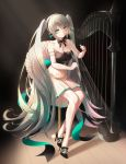 1girl absurdly_long_hair absurdres black_footwear bow bowtie dress elbow_gloves full_body gloves green_eyes green_hair harp hatsune_miku high_heels highres huge_filesize infinity_(kkx132) instrument light_rays long_hair miku_symphony_(vocaloid) music playing_instrument sitting solo sunbeam sunlight twintails very_long_hair vocaloid white_gloves