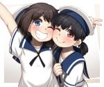 2girls black_hair blue_eyes blush bob_cut brown_eyes closed_mouth daitou_(kantai_collection) dress eyebrows_visible_through_hair grin hat hiburi_(kantai_collection) high_ponytail kantai_collection low_ponytail multiple_girls one_eye_closed ryuun_(stiil) sailor_dress sailor_hat short_hair short_sleeves smile upper_body v white_dress white_headwear