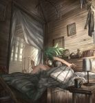 1girl ahoge bare_arms barefoot book clock cup curtains desk dream_catcher facing_away from_behind green_hair highres lamp late mug original shelf shichigatsu solo statue tagme
