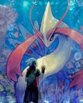 1boy beanie black_hair brendan_(pokemon) bubble commentary_request coral eye_contact fingerless_gloves gen_3_pokemon gloves hands_up hat light_beam looking_at_another looking_up milotic nosutaal pokemon pokemon_(creature) pokemon_(game) pokemon_emerald pokemon_rse short_sleeves standing white_headwear