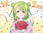 1girl :d anniversary bangs blush bouquet bow braid brown_background confetti double_bun eyebrows_visible_through_hair flower gradient gradient_background green_eyes green_hair hair_bow hand_up holding holding_bouquet hood hood_down hooded_jacket jacket long_sleeves looking_at_viewer meito_(maze) morinaka_kazaki nijisanji open_mouth pink_jacket purple_bow red_flower red_rose rose single_braid sleeves_past_wrists smile solo streamers swept_bangs translation_request upper_body v virtual_youtuber white_background