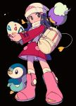 1girl beanie black_background black_hair boots coat commentary_request dawn_(pokemon) drifloon egg food gen_4_pokemon hair_ornament hat highres holding holding_egg holding_food long_hair long_sleeves looking_to_the_side ok_ko19 over-kneehighs pink_footwear piplup pokemon pokemon_(creature) pokemon_(game) pokemon_dppt pokemon_egg pokemon_platinum red_coat starter_pokemon thigh-highs white_headwear white_legwear