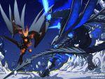 2boys alternate_form claws dante_(devil_may_cry) dated demon demon_horns demon_tail demon_wings devil_may_cry devil_may_cry_5 devil_trigger fangs fighting glowing glowing_eyes highres horns jiajiajiajiaa male_focus multiple_boys multiple_wings scale_armor scales sin_devil_trigger sword tail twitter_username vergil weapon wings