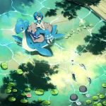 1girl blue_hair blue_pants closed_mouth fishing fishing_rod from_above gen_1_pokemon gen_7_pokemon hairband hands_together holding holding_fishing_rod knees_together lana_(pokemon) lapras lily_pad pants pokemon pokemon_(game) pokemon_sm poliwag popplio rock sandals sasairebun shirt short_hair sitting sleeveless sleeveless_shirt smile starter_pokemon symbol_commentary water wishiwashi wishiwashi_(solo)