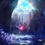 clouds commentary_request day ekm flying gen_3_pokemon latias legendary_pokemon lens_flare no_humans outdoors petals pokemon pokemon_(creature) shiny sky solo sun water waterfall