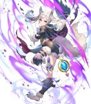 1girl alternate_costume animal_ears ass aura bangs claws clenched_teeth dark_aura detached_sleeves eyebrows_visible_through_hair fire_emblem fire_emblem_awakening fire_emblem_heroes from_behind full_body fur_trim grima_(fire_emblem) hair_ornament halloween_costume highres holding hood hood_down leg_up long_hair long_sleeves official_art parted_lips red_eyes robin_(fire_emblem) robin_(fire_emblem)_(female) shorts solo tail teeth teffish thigh_strap tied_hair torn_clothes transparent_background twintails white_hair wolf_ears wolf_tail
