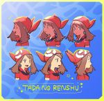 1girl banana_(okashi_to_satougashi) brown_hair closed_eyes closed_mouth commentary_request grey_eyes highres laughing long_hair looking_to_the_side may_(pokemon) multiple_views open_mouth pokemon pokemon_(game) pokemon_rse red_bandana red_shirt shirt short_sleeves smile star_(symbol) teeth