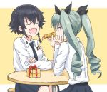 2girls :d anchovy_(girls_und_panzer) anzio_school_uniform black_hair bow box braid closed_eyes drill_hair eyebrows_visible_through_hair feeding food gift gift_box girls_und_panzer green_hair hair_bow multiple_girls mutsu_(layergreen) necktie open_mouth pepperoni_(girls_und_panzer) pizza school_uniform short_hair simple_background sitting smile sweatdrop twin_drills twintails