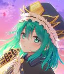 1girl asymmetrical_hair bangs blue_vest breasts buttons clouds cloudy_sky collared_vest commentary_request epaulettes eyebrows_visible_through_hair face fingernails frilled_hat frills green_eyes green_hair hair_between_eyes hat highres long_sleeves medium_hair mikaze_oto open_mouth puffy_sleeves rod_of_remorse rope shiki_eiki shirt sky small_breasts solo sunset touhou vest white_shirt