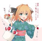1girl alternate_costume aqua_eyes black_ribbon brown_hair candy_apple commentary_request cowboy_shot floral_print food green_kimono hachijou_(kantai_collection) hair_ribbon icesherbet japanese_clothes kantai_collection kimono open_mouth pointing ribbon short_hair smile solo translation_request two-tone_background