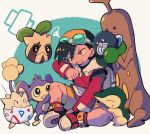 1boy aipom backwards_hat baseball_cap black_hair brown_eyes cyndaquil ethan_(pokemon) gen_1_pokemon gen_2_pokemon goggles goggles_on_headwear hand_up hat highres long_sleeves ok_ko19 one_eye_closed pokemon pokemon_(game) pokemon_gsc poliwag shoes shorts sitting starter_pokemon sudowoodo sunkern teeth togepi