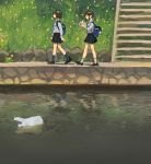 2girls backpack bag book brown_hair commentary day grass highres multiple_girls original outdoors plastic_bag ponytail reading river school_uniform shopping_bag short_hair stairs walking zinbei