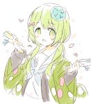 1girl :d bangs blue_neckwear blush_stickers bow eyebrows_visible_through_hair green_eyes green_hair hair_between_eyes hair_bow hair_over_shoulder hands_up holding long_hair looking_at_viewer low_twintails meito_(maze) morinaka_kazaki neckerchief nijisanji open_clothes open_mouth petals red_bow sailor_collar school_uniform serafuku shirt simple_background smile solo twintails upper_body virtual_youtuber white_background white_sailor_collar white_shirt wide_sleeves