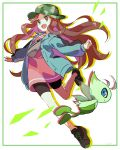 1girl bike_shorts brown_hair buttons camouflage_headwear celebi coat commentary eyelashes fingernails floating_hair gen_2_pokemon green_coat hari611 hat highres leaf_(pokemon) leg_up long_hair long_sleeves mythical_pokemon open_mouth outstretched_arms pokemon pokemon_(creature) pokemon_(game) pokemon_masters_ex shoes smile tongue