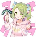 1girl :d animal_ears animal_hood bangs bear_ears bear_hood blue_bow blush bow braid braided_bangs collarbone diamond_pickaxe drawstring fake_animal_ears green_eyes green_hair hair_bow hands_up highres holding hood hood_down hooded_jacket jacket long_sleeves looking_at_viewer meito_(maze) minecraft morinaka_kazaki nijisanji open_mouth pinky_out polka_dot polka_dot_bow simple_background sleeves_past_wrists smile solo striped_jacket swept_bangs twintails v-shaped_eyebrows virtual_youtuber white_background