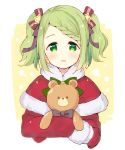 1girl bangs black_bow blush bow capelet cropped_torso dress eyebrows_visible_through_hair fur-trimmed_capelet fur-trimmed_sleeves fur_trim green_bow green_eyes green_hair hair_bow hair_ornament long_sleeves looking_at_viewer meito_(maze) mittens morinaka_kazaki nijisanji object_hug parted_lips red_bow red_capelet red_dress red_mittens santa_costume sidelocks smile solo star_(symbol) star_hair_ornament striped striped_bow stuffed_animal stuffed_toy swept_bangs teddy_bear twintails upper_body virtual_youtuber