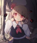 1girl :> bangs black_skirt blonde_hair blouse blush commentary cravat darkness dress_shirt eyebrows_visible_through_hair finger_to_cheek forest grass hair_ribbon long_sleeves looking_to_the_side nature necktie outdoors pointing pointing_at_self red_eyes red_neckwear red_ribbon ribbon rumia shade shirt short_hair skirt smile solarisu solo touhou tree upper_body vest white_blouse white_shirt wing_collar