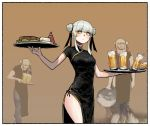 1girl alcohol beer black_dress black_ribbon border bright_pupils brown_background china_dress chinese_clothes closed_mouth cowboy_shot cup double_bun dress drinking_glass eyebrows_visible_through_hair food gogalking grey_hair hair_ribbon highres holding holding_tray junior_(gogalking) meme original ribbon side_slit spilling standing steak traffic_cone tray white_border yellow_eyes
