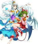 2girls amagai_tarou bangs bare_shoulders barefoot breasts demon_tail dress eyebrows_visible_through_hair fire_emblem fire_emblem:_mystery_of_the_emblem fire_emblem:_the_blazing_blade fire_emblem_heroes full_body green_eyes green_hair hair_ornament halloween_costume highres holding horns long_dress long_hair looking_away medium_breasts multiple_girls ninian_(fire_emblem) official_art open_mouth open_toe_shoes pointy_ears ponytail red_dress red_eyes shiny shiny_hair short_dress sidelocks silver_hair sleeveless smile snowflake_print tail tied_hair tiki_(fire_emblem) toes transparent_background wings