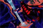1girl beanie boots coat commentary_request dawn_(pokemon) distortion_world domu_(hamadura) gen_4_pokemon giratina giratina_(origin) hat knees legendary_pokemon looking_back pink_footwear pokemon pokemon_(creature) pokemon_(game) pokemon_dppt pokemon_platinum red_coat scarf standing thigh-highs water waterfall white_headwear white_legwear white_scarf