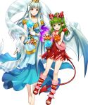 2girls alternate_costume amagai_tarou bangs bare_shoulders barefoot closed_mouth collarbone demon_tail dress eyebrows_visible_through_hair fire_emblem fire_emblem:_mystery_of_the_emblem fire_emblem:_the_blazing_blade fire_emblem_heroes full_body green_eyes hair_ornament halloween_costume highres holding horns lips long_dress long_hair looking_at_viewer multiple_girls ninian_(fire_emblem) official_art open_mouth open_toe_shoes pointy_ears ponytail red_dress red_eyes shiny shiny_hair short_dress sidelocks silver_hair sleeveless smile snowflake_print tail tied_hair tiki_(fire_emblem) toes transparent_background wings
