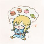 1boy :d ayu_(mog) belt blonde_hair blue_shirt blush boots chibi closed_eyes facing_viewer fish grey_background link male_focus motion_lines mushroom musical_note open_mouth pants pointy_ears ponytail running shirt signature simple_background smile solo spoken_musical_note sword the_legend_of_zelda weapon weapon_on_back