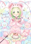 1girl :d absurdres animal_ears animal_hood bear_ears bear_hood birthday_cake blush bow box cake character_name confetti cuffs drawstring fake_animal_ears fingernails food forehead full_body gift gift_bag gift_box green_eyes green_hair handcuffs hands_up happy_birthday heart highres hood hood_up hooded_jacket jacket keyhole long_sleeves meito_(maze) morinaka_kazaki nijisanji open_mouth pennant pink_jacket pink_legwear pink_shorts polka_dot polka_dot_bow red_bow short_shorts shorts sitting sleeves_past_wrists smile socks solo sparkle streamers string_of_flags striped striped_jacket striped_legwear stuffed_animal stuffed_toy teddy_bear virtual_youtuber wariza white_background