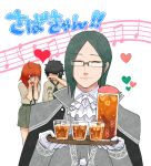 1girl 2boys bangs cape closed_eyes cravat crying cup drinking_glass eyebrows_visible_through_hair fate/grand_order fate_(series) formal fujimaru_ritsuka_(female) fujimaru_ritsuka_(male) fuyumizaka giving glasses hand_over_face happy_birthday heart incoming_drink long_sleeves multiple_boys musical_note official_alternate_costume parted_bangs phantom_of_the_opera_(fate/grand_order) smile translation_request tray upper_body white_background