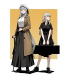 2girls black_choker black_dress black_footwear black_skirt blind bright_pupils brown_coat case choker closed_eyes closed_mouth coat contrapposto dress earrings facing_viewer full_body gogalking grey_hair hat highres holding_case jewelry junior_(gogalking) long_hair long_skirt looking_to_the_side multiple_girls open_clothes open_coat ophelia_(gogalking) orange_background original shiny shiny_hair shirt shoes short_sleeves skirt smile standing v_arms very_long_hair walking_stick white_headwear white_pupils white_shirt yellow_eyes