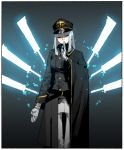 1girl absurdres black_headwear border closed_eyes closed_mouth double-breasted energy_blade gloves gogalking grey_jacket hand_up hat highres jacket long_sleeves magic meditation military military_hat military_jacket military_uniform ophelia_(gogalking) original pants solo uniform white_border white_gloves white_pants
