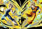 2boys :d blonde_hair blue_eyes covered_abs dougi dragon_ball dragon_ball_z electricity full_body gloves male_focus mattari_illust multiple_boys muscle open_mouth sleeveless_bodysuit smile son_gokuu spiky_hair super_saiyan super_saiyan_2 vegeta white_footwear white_gloves