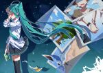 1girl ahoge aosaki_yato aqua_hair aqua_neckwear black_legwear black_skirt blush bracelet brown_hair calc_(vocaloid) clam_shell commentary covering_face faceless faceless_male from_side hand_on_own_face hand_up hatsune_miku highres holding holding_hands holding_photo jewelry long_hair long_sleeves miniskirt necklace necktie night night_sky ocean photo_(object) pleated_skirt shell shirt skirt sky standing star_(sky) starry_sky tears thigh-highs tree twintails very_long_hair vocaloid wavy_mouth white_shirt zettai_ryouiki zoom_layer